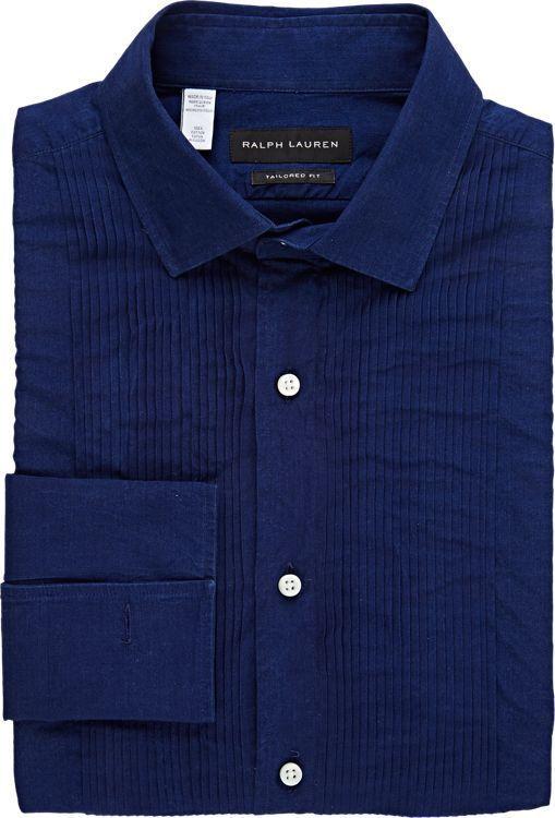 Ralph Lauren Black Label Men's Sloan Tuxedo Shirt-Blue | Men: Fashion ...