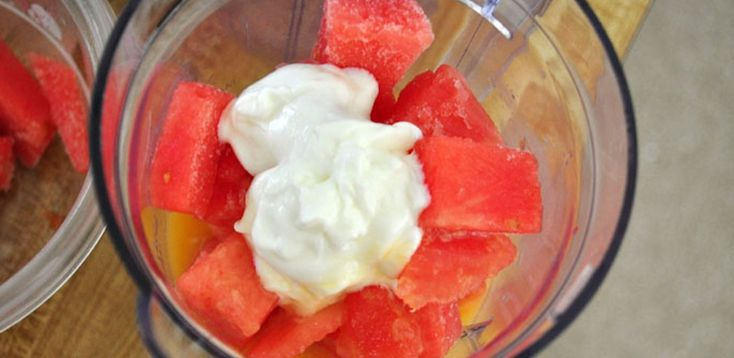 Watermelon Smoothie    Frozen watermelon chunks  Orange juice  Plain Greek yogurt [