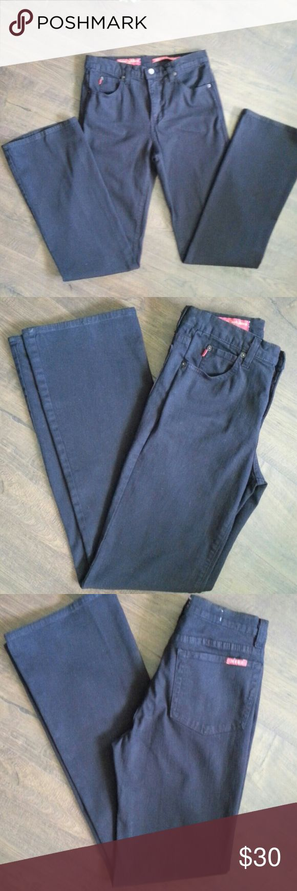 """NYDJ Jeans Tummy Tuck Bootcut Black Sz 6 Not Your Daughters Jeans Tummy Tuck Black Bootcut Sz 6 measurements waist 29"""", rise 8-1/2"""", hip 36"""", inseam 33"""", leg opening at hem 19-1/2"""". Black fabric 97% cotton,  3% spandex. Pre owned,  please review pictures for condition and measurements for accurate fit. Thanks! Not Your Daughters Jeans Jeans Boot Cut"""