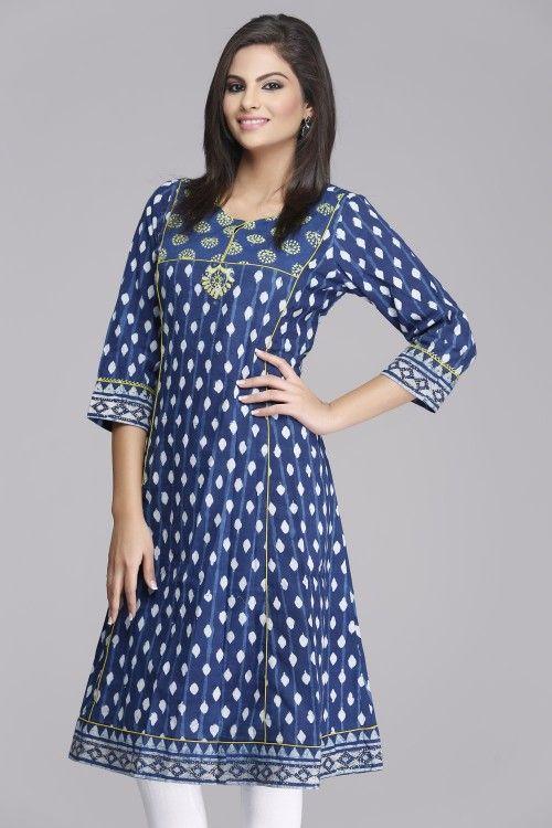 Soothing Blue Anarkali Cotton Kurta by Farida Gupta