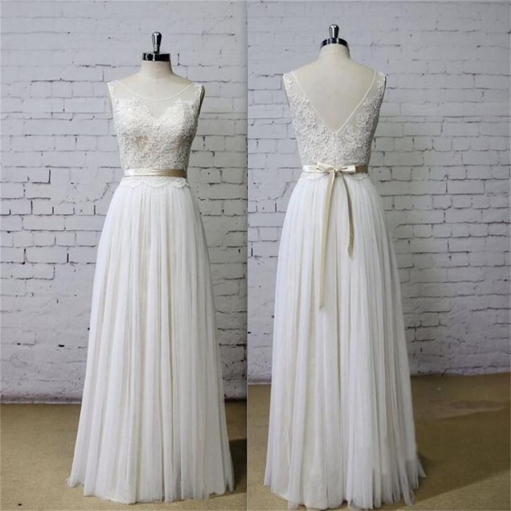 Long Aline Scoop V Back Lace Simple Pretty Beach Summer Tulle Wedding Dresses, WD0201                                                                                                                                                                                 More
