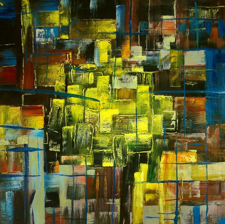 Wall Art Cityscape Abstract Painting Handmade Oil On Canvas 32 X