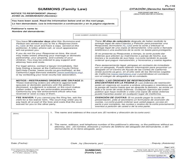 Forms to file for legal separation in california