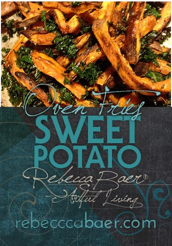 sweet potato oven fries with roasted kale