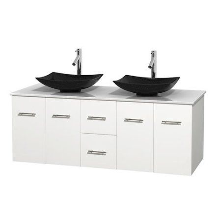 Wyndham Collection Centra 60 inch Double Bathroom Vanity in Matte White, White Man-Made Stone Countertop, Arista Black Granite Sinks, and No Mirror
