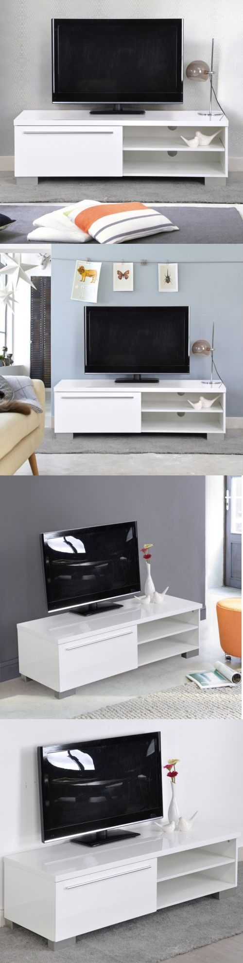 Home shop live tv stands chunky stretch tv stand - Furniture White High Gloss Wooden Tv Stand Living Room Cabinet Table Via Storage Drawers