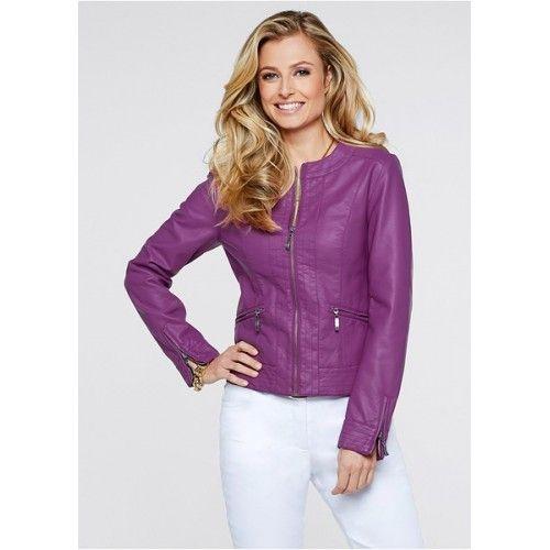 Jachete de primavara dama Jacheta roz lila din imitaţie de piele