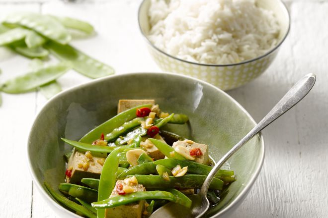 Tofu met chilipeper en basmatirijst