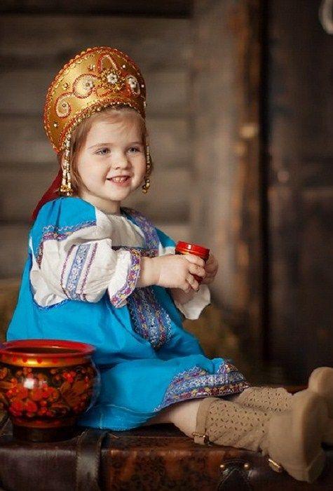 "A little Russian girl in a traditional costume and in a headdress ""Kokoshnik"". #kids"