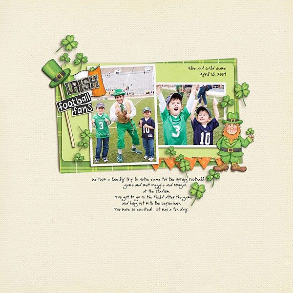 St Patricks digital scrapbooking page | St Patrick's Day scrapbook layout ideas | Kate Hadfield Designs Creative Team scrapbook page by Carolee