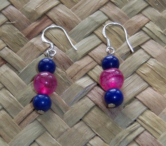 Sterling Silver Lapis Lazuli and Agate Earrings by OceanicBeads, $17.50