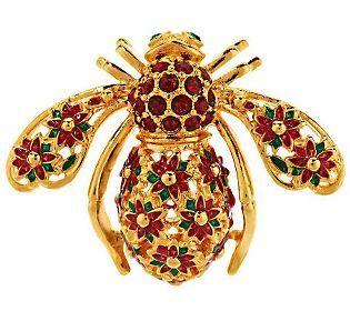 Joan Rivers Poinsettia Bee Pin