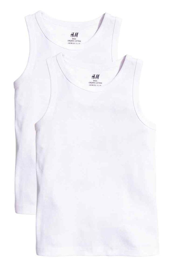 2-pack vest tops: CONSCIOUS. Vest tops in soft ribbed jersey made from  cotton.