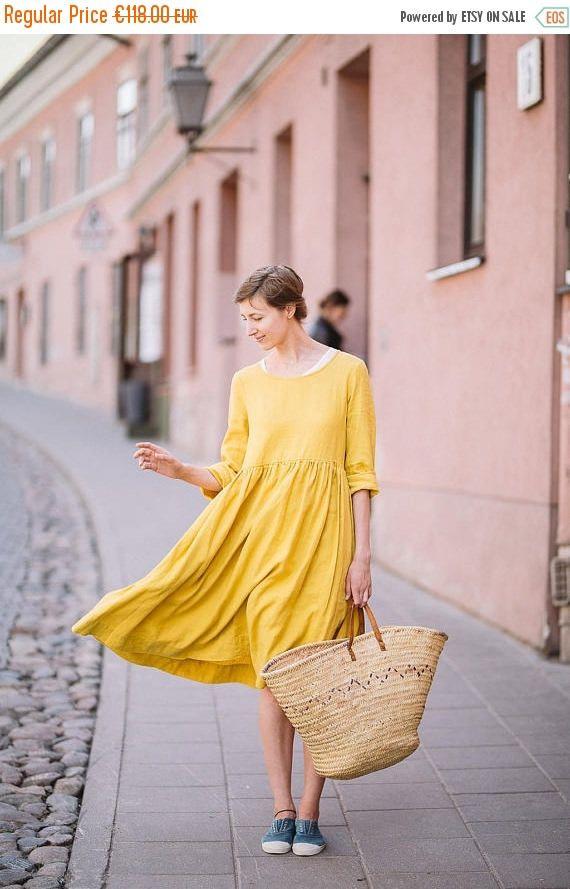 Moutarde lin robe marinière robe robe mi-longue robe en