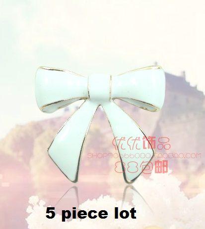 5 piece  lot medium size white bow alloy diy bling phone deco etc | chriszcoolstuff - Craft Supplies on ArtFire