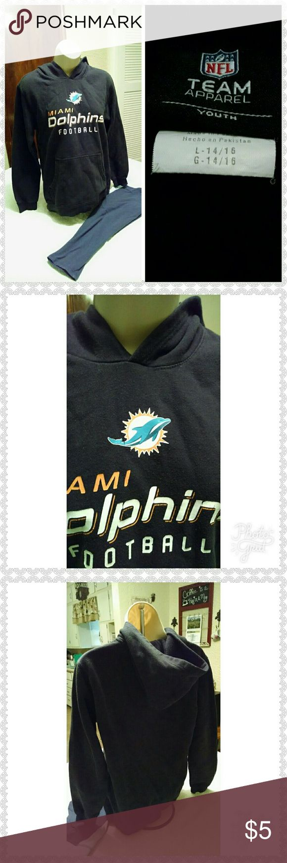 Miami Dolphins hoodie Youth large Miami dolphins hoodie will keep your child warm on those cold winter nights or days. nfl Shirts & Tops Sweatshirts & Hoodies