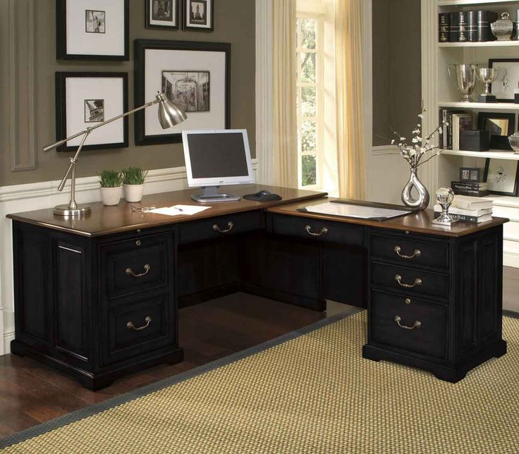 Beau Riverside Bridgeport Black L Shaped Home Office Computer Desk