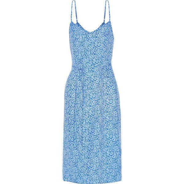 HVN Lily floral-print silk-satin dress (5.341.850 IDR) ❤ liked on Polyvore featuring dresses, blue, floral pattern dress, blue vintage dress, flower pattern dress, floral dresses and botanical dress