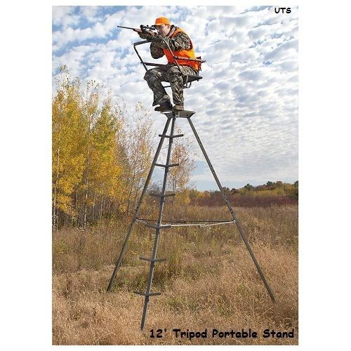 Tree Stand 12' Portable Tripod Deer Big Game Treestand Hog Rifle Turkey Hunting