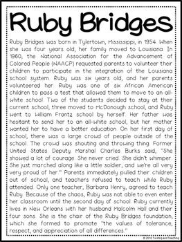 Ruby Bridges Biography Pack Black History Month Facts