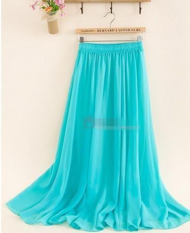 Women's Chiffon Long Mopping Pleated Skirt Beach Skirt Europe America 9Colors…