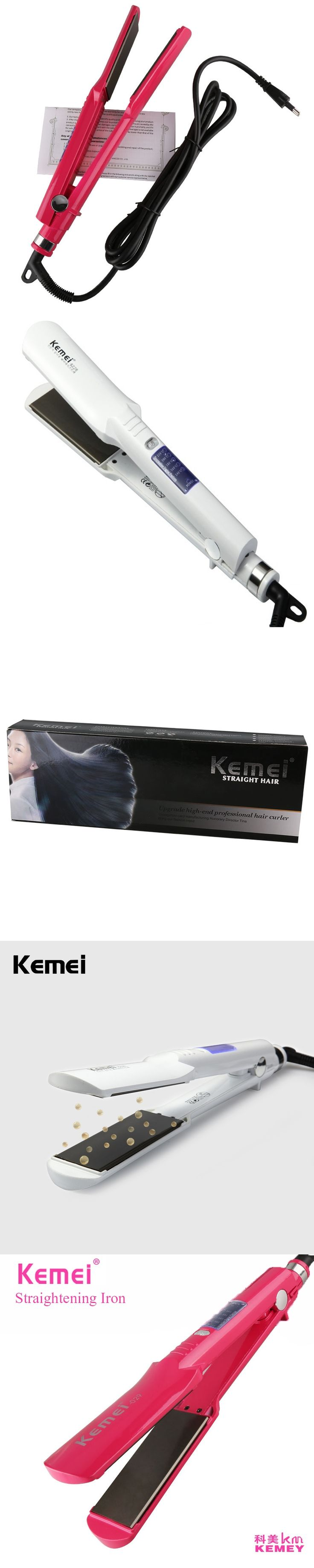 KEMEI 2017 LCD Professional Hair Straightener Hair Curler Electric Splint Steam Curling Iron Straightening Perm Curler BT-261