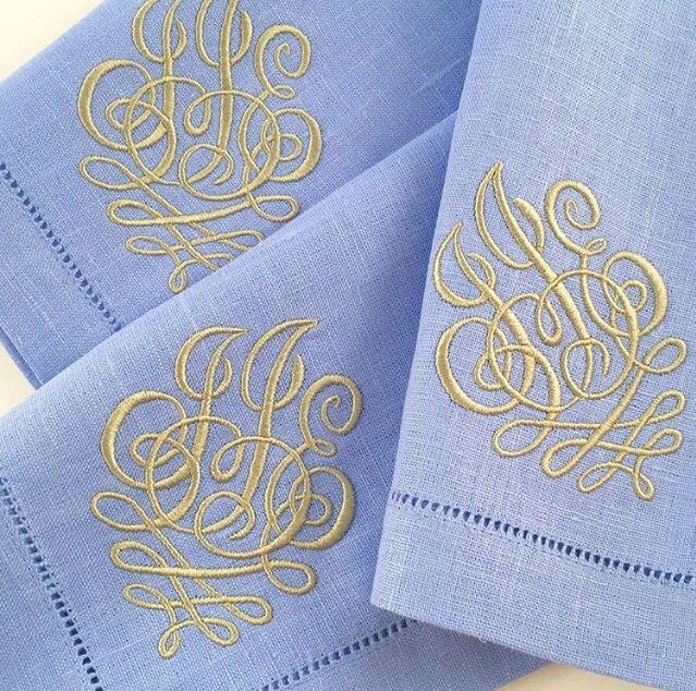 Monogrammed linen napkins