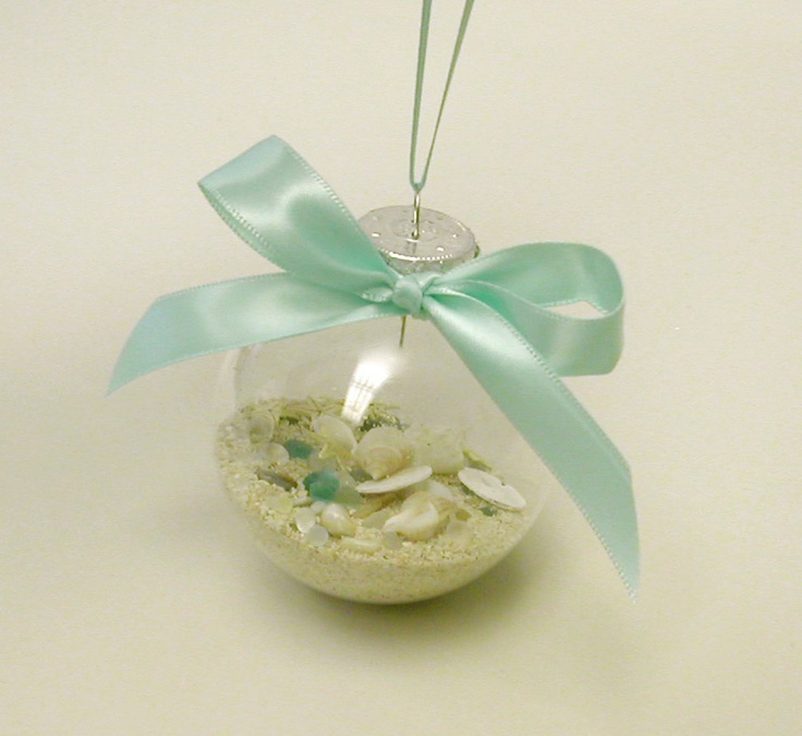 Beach Christmas Ornament...I might do this for my brother's beach wedding keepsake