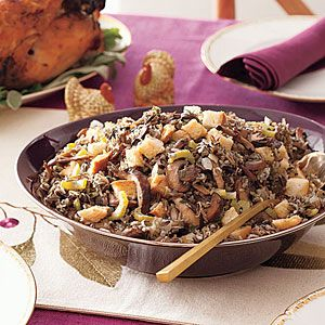 Slow Cooker Wild Rice and Mushroom Stuffing  (sort of a slow cooker, but a lot of stove top before, also)   REALLY sounds good.
