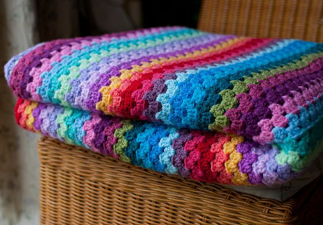 Granny Stripe Blanket Folded by TheCrocheteer, via Flickr