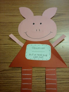 "Using ""Olivia"" to teach realism/fantasy. Students write: Olivia can ________, but a real pig can not."