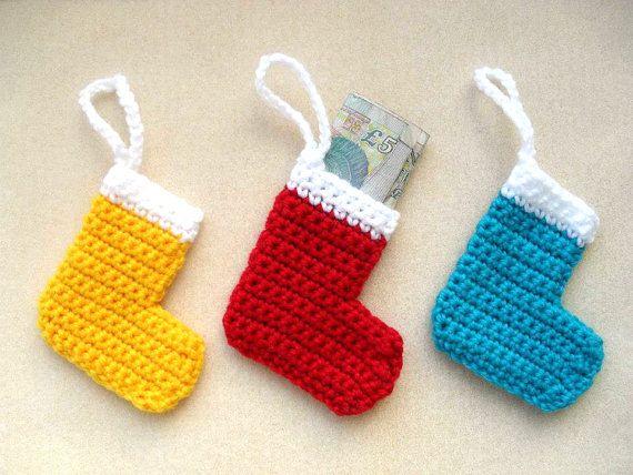 SIX Crochet Christmas stocking decorations by YellowSherbet, £12.00