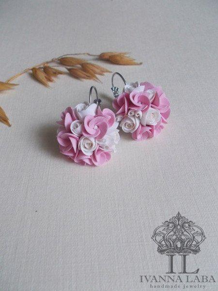Rose brinco rosas jóias de noiva dama de honra aumentou by Mirobel