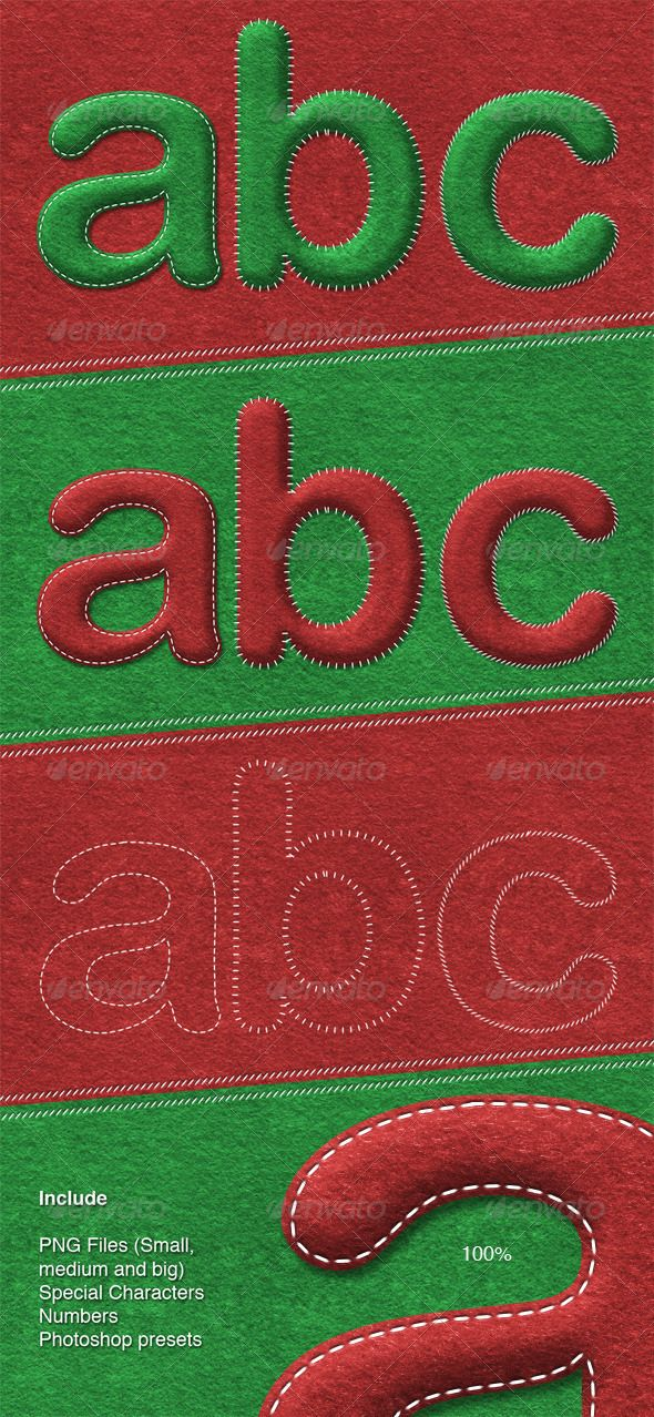 Sewed Letters  #GraphicRiver        Actions and presets in action https://vimeo /55982349   This package contains three differents groups of letters with a sewed handmade effect on felt texture specially designed for you could craft your christmas messages. You can play with the sewed styles and differents colors.  You'll get a folder with the variations of PNG files in: big, medium and small sizes. Also this package included special glyphs to help you to bettering your designs, plus, you'll…