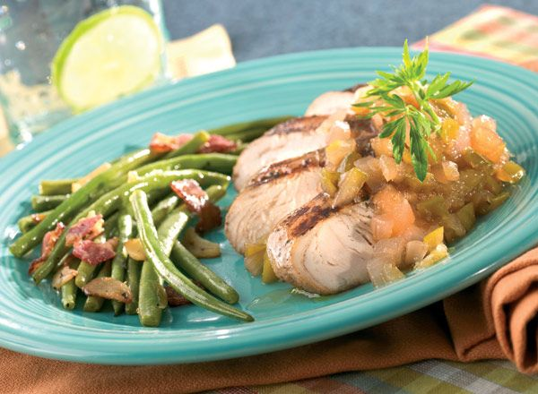 Grilled Turkey With Apple Chutney and Beans With Candied Garlic from Publix Aprons