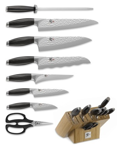 Shun Edo 9-Piece Knife Block Set -- These are a major investment, but a real luxury for people who love to cook (like my husband)! Shun also offers free sharpening for life.