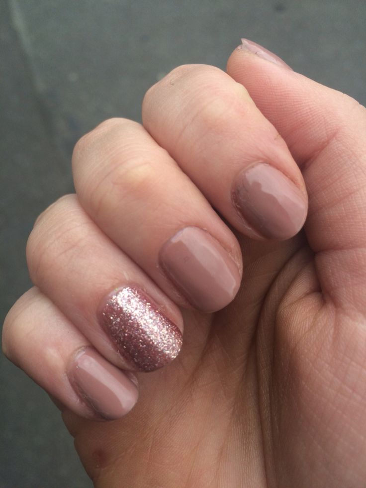 Nude with sparkles ️ Nails Nude nails Shellac Cute
