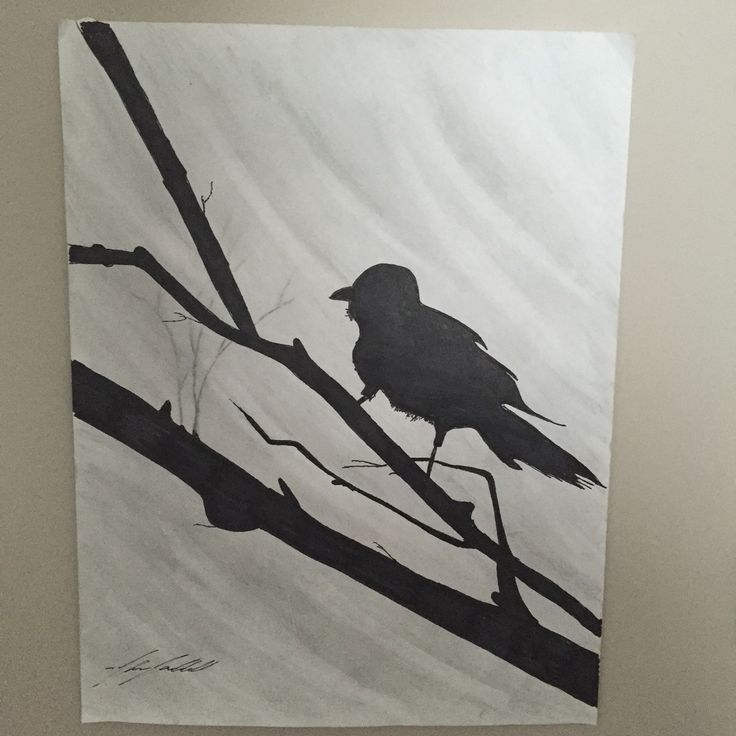 Simple silhouette of a sparrow