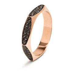 #MelissaKayeJewelry Rhona #ring in #18k pink #gold with #diamonds #jewelry #finejewelry #pinkgold #blackdiamonds #fashion #style