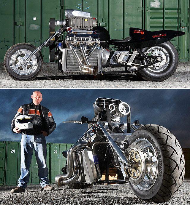 Rapom 1 200 Hp Big Block Supercharged V8 Bike Throttlextreme Com Bobber Bikes Motorcycle Nhra Drag Racing
