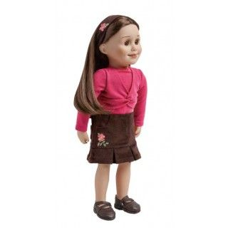 Wild Rose: Alberta's provincial flower is the beautiful pink wild rose which Taryn tells you about in her journal pages. This outfit includes a sweater knit top, corduroy skirt, matching hairband and beautifully detailed brown shoes.