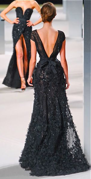 Pretty back detail of Elis Saab gown.  (The model in the background is having a wardrobe malfunction.)