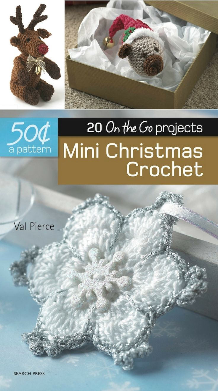 Mini Christmas Crochet book review by Underground Crafter - Learn more about this book in Search Press's 20 On the Go Projects series, and try out the two excerpted crochet patterns (for the amigurumi Rudolf the Reindeer and Christmas Bear ornament)!