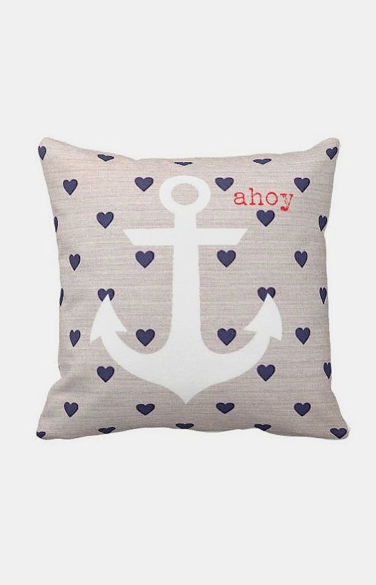 Nautical Anchor Pillow Cover Navy Heart Ahoy Marine. My son's bedroom has a nautical theme, but perhaps the hearts are too girly.