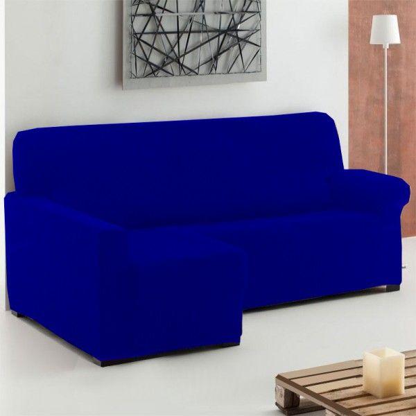 Fundas Sofá Chaise Longue color Azul Eléctrico modelo Túnez, fundas elásticas para sofás chaise longue de 240 a 280 cm con brazo derecho y izquierdo.