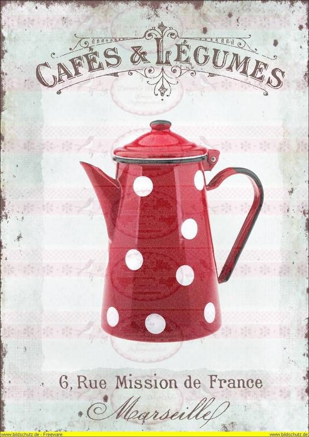 Vintage Bügelbild Antik Dots Kaffeekanne
