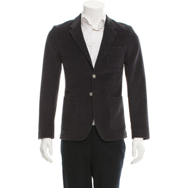 Pre-owned PS by Paul Smith Velvet Two-Button Blazer ($125) ❤ liked on Polyvore featuring men's fashion, men's clothing, men's sportcoats, grey, mens blazers, mens gray blazer, mens velvet blazer, mens clothing and mens grey blazer