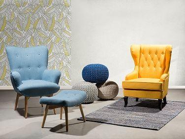 Kárpitozott fotel - szövet fotel - sárga - MOLDE