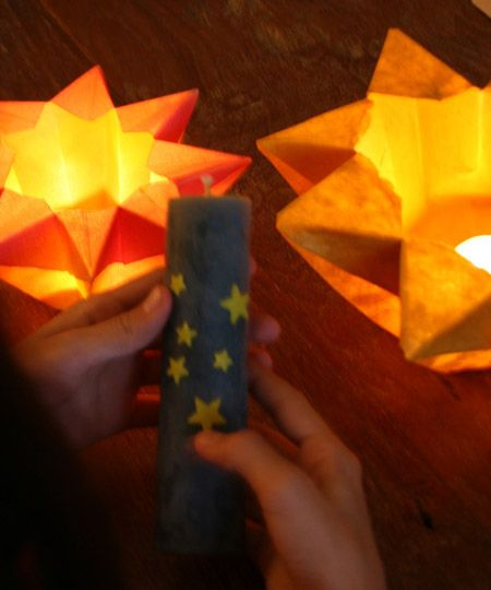 I could use this idea with the candles. Have Blue candles have orange stars and Orange Candles can have blue stars on them