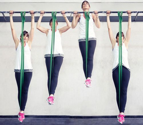 Use resistance bands to help develop the strength needed to do body-weight pull-ups and chin-ups
